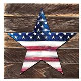 Designocracy Star Rustic Patriotic Wooden Wall Decor Wood in Blue/Brown/White, Size 12.0 H x 9.0 W x 1.5 D in   Wayfair 98917-128