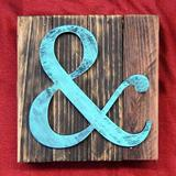 aMonogram Art Unlimited Ampersand Mounted on Rustic Wood Board Wall Decor Wood in Brown, Size 12.0 H x 12.0 W in | Wayfair 9551&-12