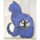 """aMonogram Art Unlimited Cat Rustic Single Letter Wooden Wall Decor Letter: A, Wood in Blue, Size Small (12"""" - 24"""" High) 