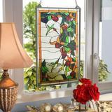 Astoria Grand Stained Glass Hanging Window Panel in Black/Green/Orange, Size 32.0 H x 20.0 W x 0.0063 D in   Wayfair ATGD4681 39528409