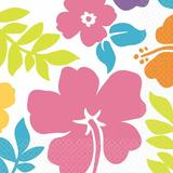 "Amscan Summer Hibiscus White 6.5"" Lunchs Paper Disposable Napkins Paper in Blue/Indigo/Orange, Size 6.5"" H x 6.5"" W x 0.1"" D | Wayfair 711077"