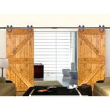 Calhome Classic Horseshoe Sliding Standard Double Track Barn Door Hardware Kit in Brown, Size 144.0 W in | Wayfair SDH-TSQ06-AB-72(2SET)+CONN-AB