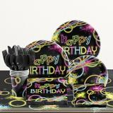 """Creative Converting Glow Party Birthday 6.5""""s Paper Disposable Napkins Paper in Black/Pink/Yellow 