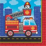 """Creative Converting Fire Truck 6.5""""s Paper Disposable Napkins Paper in Blue/Red   Wayfair DTC331502NAP"""