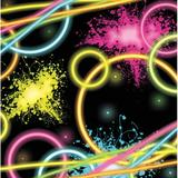 """Creative Converting Glow Party Beverage 5""""s Paper Disposable Napkins Paper in Black/Pink/Yellow 