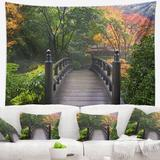 East Urban Home Polyester Wood Bridge at Japanese Garden in Fall Tapestry w/ Hanging Accessories Included Polyester in Black/Green | Wayfair