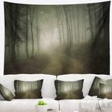 East Urban Home Polyester Forest Road in Morning Tapestry w/ Hanging Accessories Included Polyester in Black, Size 50.0 H x 60.0 W in   Wayfair