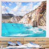 East Urban Home Polyester Greek Islands Scenic Beaches Tapestry w/ Hanging Accessories Included Polyester in Blue/Gray, Size 78.0 H x 92.0 W in