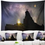 East Urban Home Polyester Rock Climbing to Base Camp Tapestry w/ Hanging Accessories Included Polyester in Black, Size 50.0 H x 60.0 W in   Wayfair