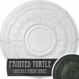 "Ekena Millwork Dauphine 33 7/8""H x 33 7/8""W x 1 3/8""D Ceiling Medallion Finish: Painted Turtle Crackle, Urethane, Size 33""H X 33""W X 1""D | Wayfair"