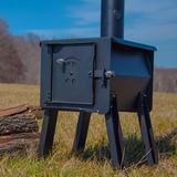 England's Stove Works Blackbear Portable Camp Wood Stove Steel in Black/Brown/Gray, Size 25.375 H x 17.0 W x 19.25 D in | Wayfair 12-CSM