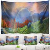 East Urban Home Polyester Huts over Autumn Mountains Tapestry w/ Hanging Accessories Included Polyester in Black, Size 50.0 H x 60.0 W in   Wayfair