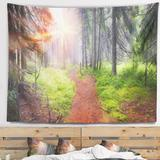 East Urban Home Polyester Forest at Dawn Tapestry w/ Hanging Accessories Included Metal in Black, Size 32.0 H x 39.0 W in   Wayfair