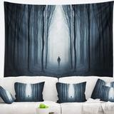 East Urban Home Polyester Man Walking Along in Misty Forest Tapestry w/ Hanging Accessories Included Polyester in Black, Size 50.0 H x 60.0 W in