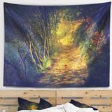 East Urban Home Polyester Forest Path in Sunshine Tapestry w/ Hanging Accessories Included Polyester in Black, Size 50.0 H x 60.0 W in   Wayfair