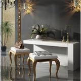 Everly Quinn Kirkwood Bedroom Makeup Vanity Set w/ Mirror Wood in White/Yellow, Size 55.0 H x 31.5 W x 20.0 D in | Wayfair