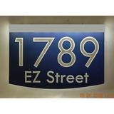EZ Street Signs 2-Line Lawn Address Sign Plastic in Blue, Size 8.5 H x 12.0 W x 2.5 D in   Wayfair 8m-2-s