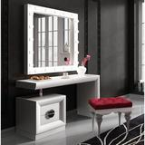 Everly Quinn Kirkwood Bedroom Makeup Vanity Set w/ Mirror Wood in White, Size 55.0 H x 31.5 W x 20.0 D in | Wayfair