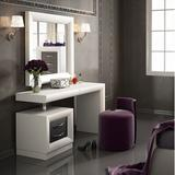Everly Quinn Kirkwood Bedroom Makeup Vanity Set w/ Mirror Wood in Gray/White, Size 31.5 H x 55.0 W x 20.0 D in | Wayfair