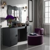 Everly Quinn Kirkwood Bedroom Makeup Vanity Set w/ Mirror Wood in Black, Size 31.5 H x 63.0 W x 24.8 D in | Wayfair