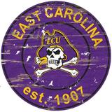 Fan Creations NCAA Distressed Round Sign Wall Decor Wood in Brown, Size 24.0 H x 24.0 W in   Wayfair C0659-East Carolina
