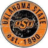 Fan Creations NCAA Distressed Round Sign Wall Decor Wood in Brown, Size 24.0 H x 24.0 W in   Wayfair C0659-OK State