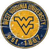 Fan Creations NCAA Distressed Round Sign Wall Decor Wood in Brown, Size 24.0 H x 24.0 W in   Wayfair C0659-West Virginia