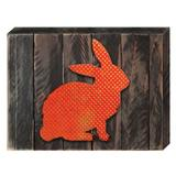 The Holiday Aisle® Easter Bunny on Wooden Block Wall Decor Wood in Brown/Orange, Size 6.0 H x 8.0 W in | Wayfair 2BA1D03EC33A44DC920A1CE7A071F990