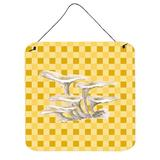 Highland Dunes Oyster Mushrooms on Basketweave Wall Decor Metal in Yellow, Size 8.0 H x 6.0 W in | Wayfair HLDS2524 39989387