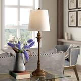 """Gracie Oaks Spiers 30"""" Buffet LampResin/Linen in Brown/White, Size 30.0 H x 10.0 W x 10.0 D in   Wayfair C25F92D3F75F42E29A521776B9D5348A"""