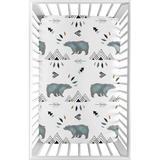 Sweet Jojo Designs Bear Mountain Mini Fitted Crib Sheet Polyester in Black/Blue/White, Size 5.0 H x 28.0 W x 52.0 D in   Wayfair