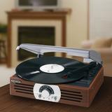Jensen 3-Speed Decorative Record Player w/ AM/FM Stereo Radio in Brown, Size 4.92 H x 12.52 W x 11.1 D in   Wayfair JTA-222