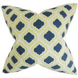 Latitude Run® Camile Geometric Bedding Sham 100% Cotton in Blue/Yellow, Size 26.0 H x 26.0 W x 8.0 D in | Wayfair LTDR2122 40197540