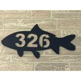 LANDDescapes Fish 1-Line Wall Address Plaque Metal in Blue, Size 8.0 H x 17.0 W x 0.25 D in   Wayfair Fish-01-blu