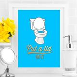 Love You A Latte Shop 'Put a Lid on It' Bathroom Graphic Art on Paper Paper in Blue, Size 10.0 H x 8.0 W x 1.0 D in   Wayfair 1044