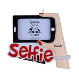 The Holiday Aisle® Selfie Photo Frame Personalized Hanging Figurine Ornament in Red/White, Size 3.95 H x 4.4 W x 0.8 D in   Wayfair