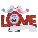 The Holiday Aisle® Love Photo Frame Personalized Hanging Figurine Ornament in Red, Size 3.55 H x 4.7 W x 0.8 D in | Wayfair