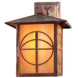 Meyda Tiffany 1-Light Outdoor Wall Lantern Glass/Metal in Brown/White, Size 12.0 H x 9.0 W x 12.0 D in   Wayfair 21916