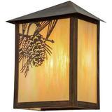 Meyda Tiffany Seneca Winter Pine Outdoor Wall Lantern Glass in Brown, Size 16.0 H x 12.0 W x 7.5 D in   Wayfair 154452