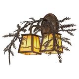 Meyda Tiffany 2-Light Outdoor Wall Lantern Glass in Brown, Size 12.0 H x 17.0 W x 17.0 D in   Wayfair 159315