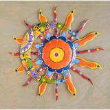 Plow & Hearth Talavera Sun & Moon Painted Metal Wall Decor Metal in Orange, Size 27.75 H x 27.75 W in   Wayfair 54178