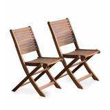 Plow & Hearth Eucalyptus Bistro Folding Patio Dining Chair Wood in Brown/White, Size 34.0 H x 19.5 W x 22.5 D in | Wayfair 62C87