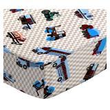 Sheetworld Vehicles Cream Pack & Play Crib Sheet Cotton in White, Size 36.0 H x 36.0 W x 39.0 D in | Wayfair GPP-F540