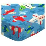Sheetworld Baby Airplanes Fitted Crib Sheet Cotton in Blue, Size 42.0 H x 42.0 W x 42.0 D in | Wayfair RD42-W1135