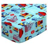 Sheetworld Construction Zone Pack & Play Crib Sheet Cotton in Blue, Size 39.0 H x 27.0 W x 38.0 D in | Wayfair PC-W1094