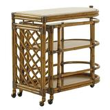 Tommy Bahama Home Twin Palms Bar Cart Wood/Marble in Brown/White, Size 36.0 H x 40.0 W x 20.0 D in | Wayfair 01-0558-862