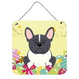 The Holiday Aisle® Easter Eggs French Bulldog Metal Wall Decor Metal in Gray/Yellow, Size 8.0 H x 6.0 W in | Wayfair THLA4787 39992951