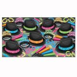 The Holiday Aisle® Neon Glow Chairman Party Hat Set in Black/Blue/Pink | Wayfair THDA7915 43483258