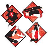 The Holiday Aisle® Graduation Cutouts Set in Black/Red   Wayfair THLA2638 39611256