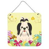 The Holiday Aisle® Easter Eggs Shih Tzu Gloss Wall Decor Metal in White/Black, Size 8.0 H x 6.0 W in | Wayfair THLA4750 39992904